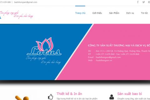 Thiết kế website dịch vụ in ấn baobibongsen.vn
