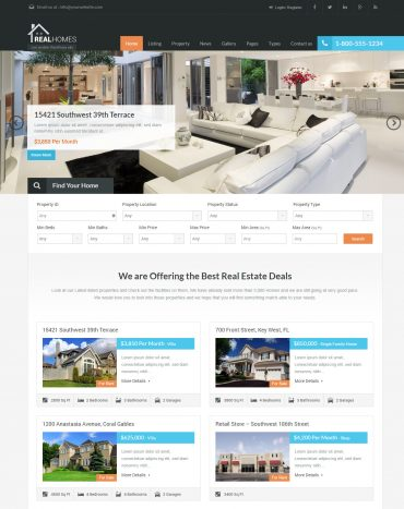 theme bất động sản WordPress, website bất động sản