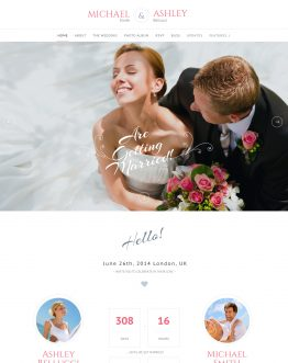 Honeymoon - Wedding theme WordPress, mẫu website đám cưới